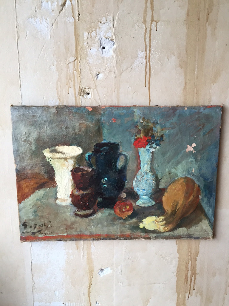 Italian Still Life Oil Painting - Mercato Antiques - 1