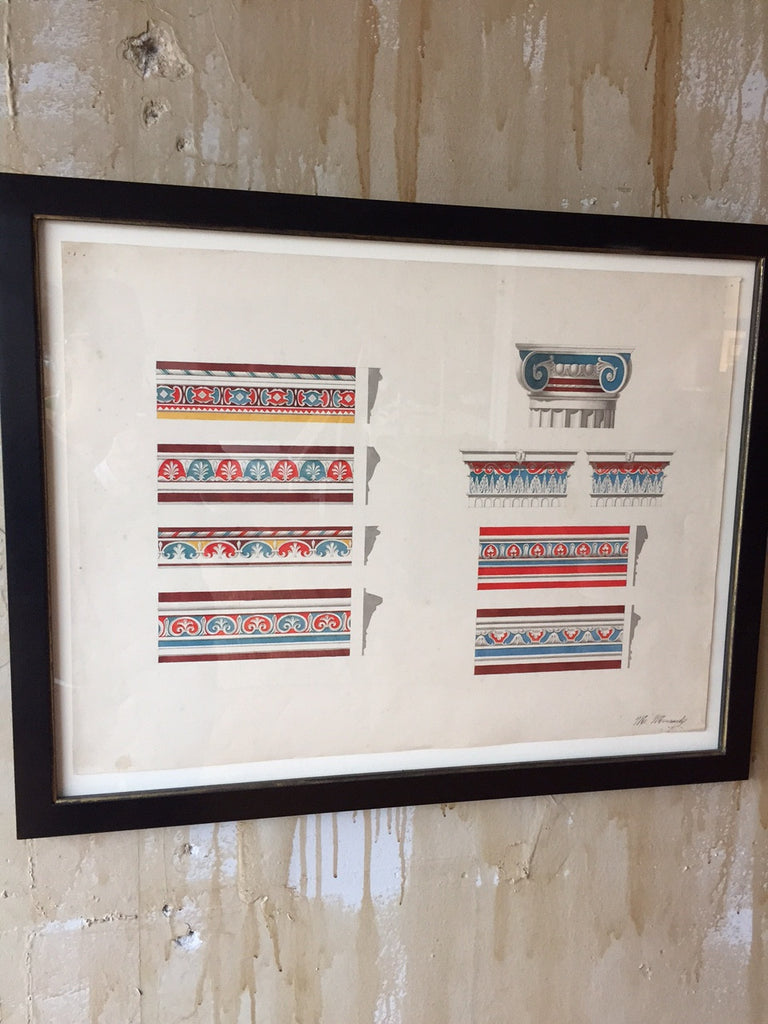 Italian Antique Gouache Painting -Pompeii Friezes - Mercato Antiques - 1