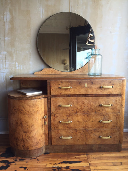 Italian Art Deco Dresser With Mirror - Mercato Antiques - 1