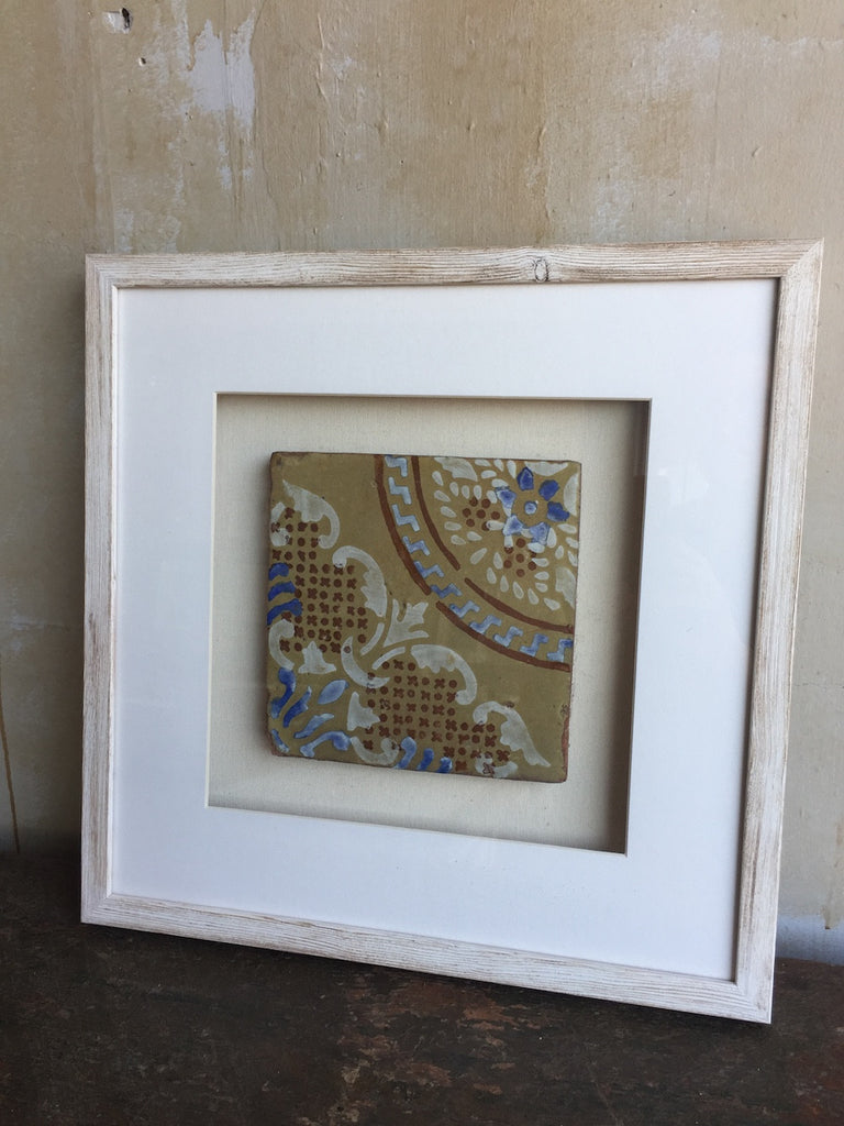 SOLD) Framed Italian Antique Tile - Tan White Blue Red
