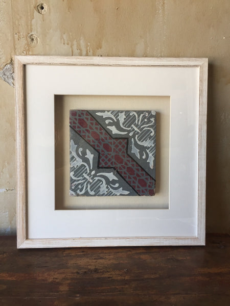 (SOLD) Framed Italian Antique Tile - Gray White Red Black