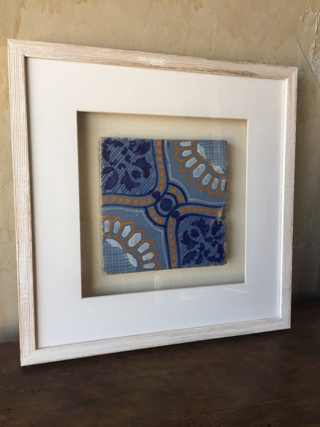 Framed Italian Antique Tile - Light Blue, Dark Blue, Yellow and White