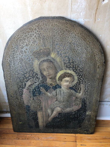 Italian Antique Madonna and Child Painted on Slate Plaque
