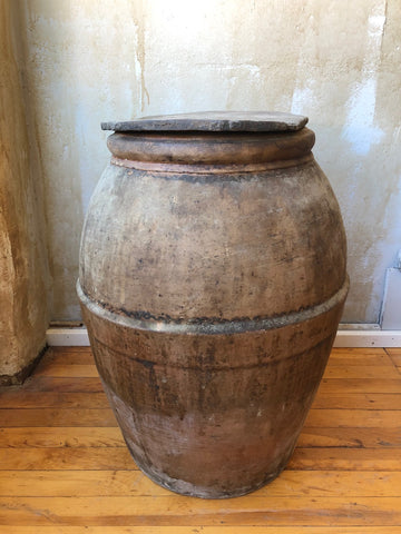 "Italian Antique Oil Jar with Lid- 22.75""H"