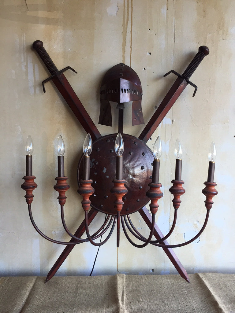 Large 7 Arm Vintage Wall Sconce - Mercato Antiques - 1