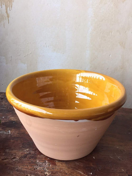 Rustic Italian Serving Bowl- Large, Ochre - Mercato Antiques - 1