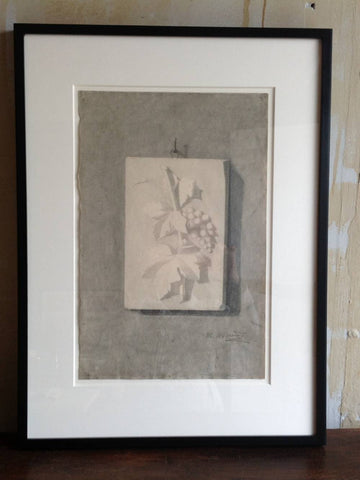 Original Antique Charcoal Drawing- Grapes