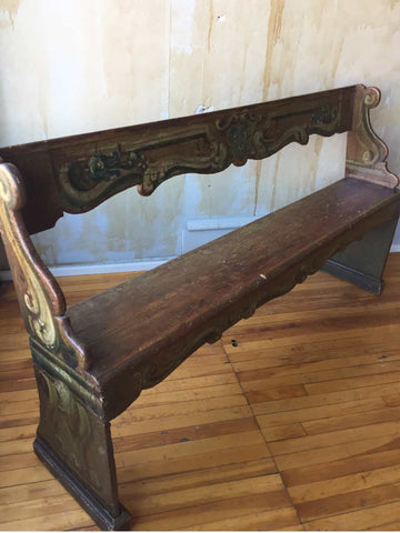 Tuscan Antique Church Pew