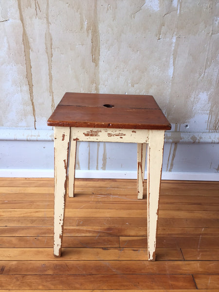 Antique Bed Stool: Italian Vintage Painted Wooden Stool (SOLD