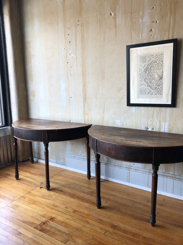 Pair of Italian Antique Demilune Tables