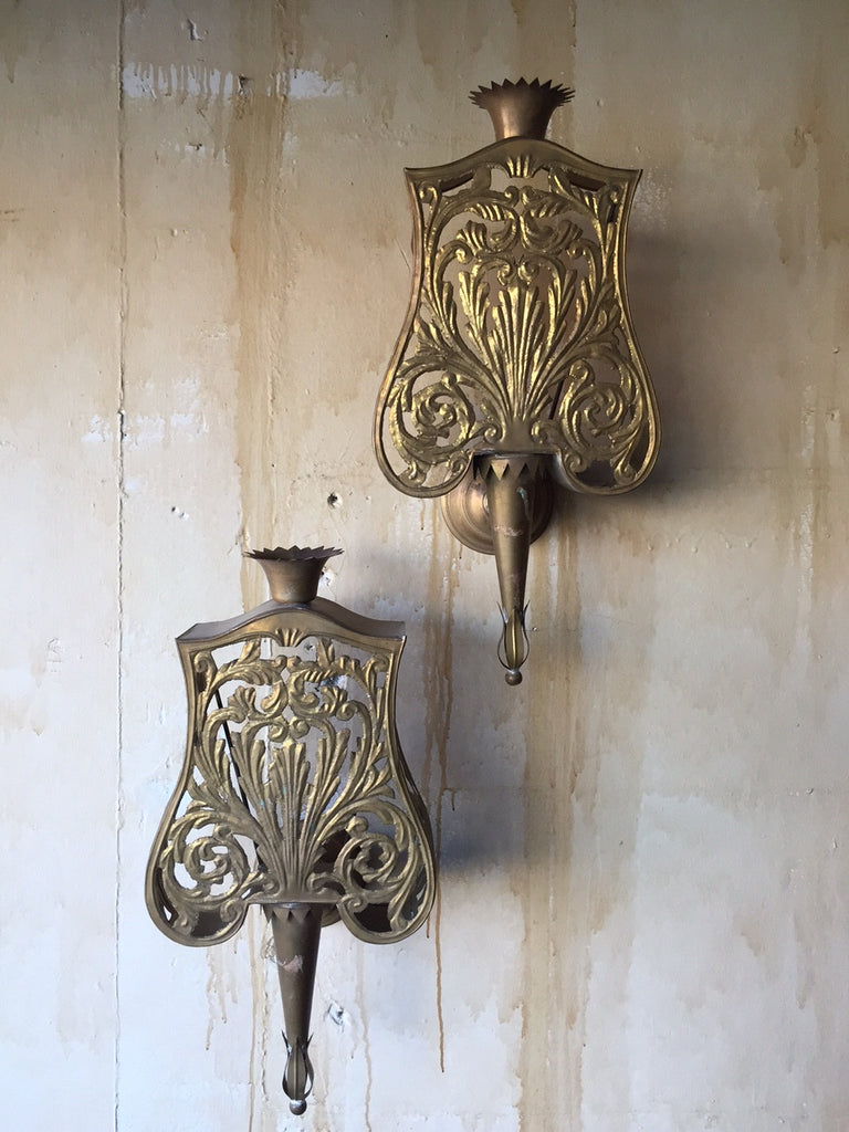Pair of Italian Brass Wall Sconces - Mercato Antiques - 1