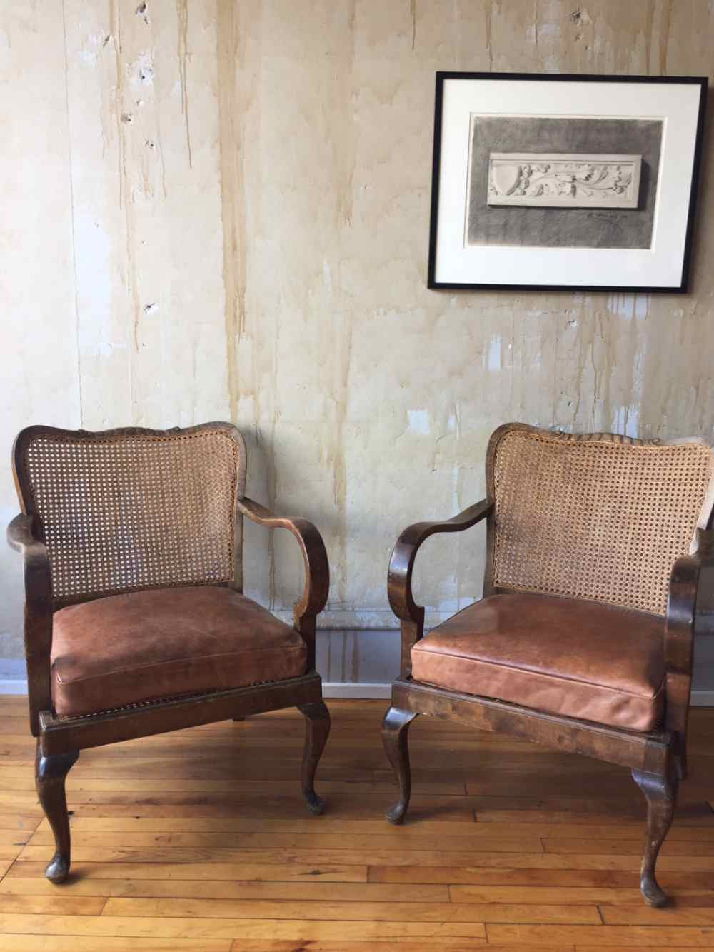 ... Walnut Vintage Caned Chairs ...
