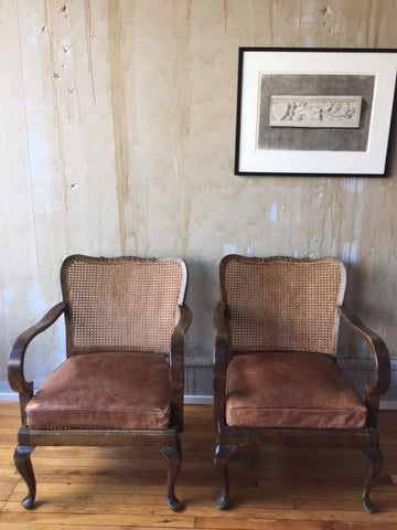 Pair Vintage Caned Chairs with Leather Cushions
