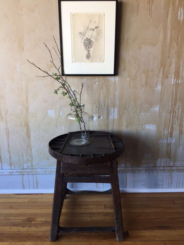 Small Round Antique Side Table- Shoemaker's Table