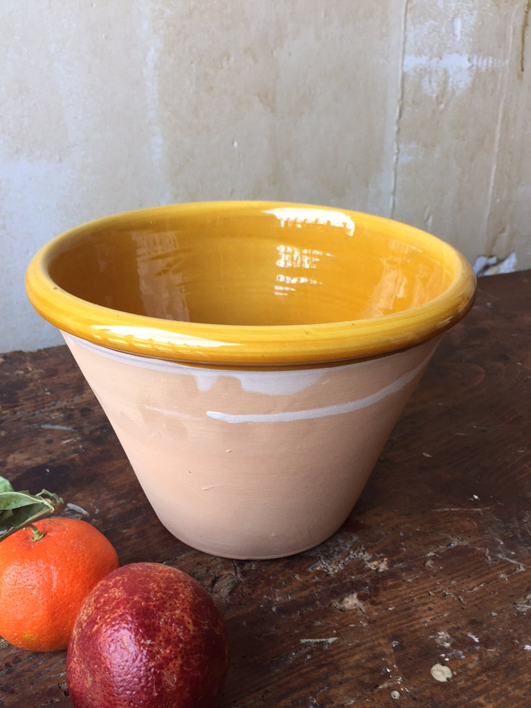 Rustic Italian Serving Bowl- Medium, Ochre - Mercato Antiques - 1