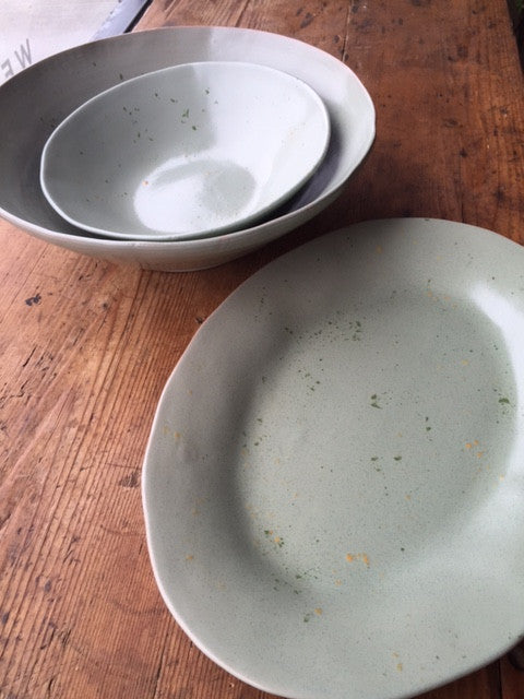 Sage Green Serving Bowl - Large - Mercato Antiques - 6