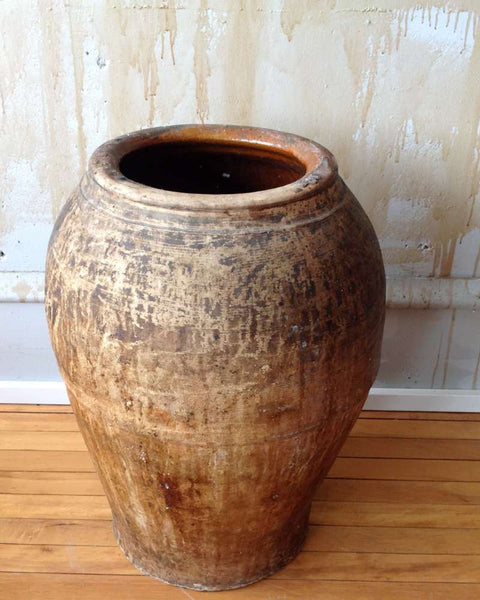 "Rustic Terracotta Oil Jar From Spain- 23"" - Mercato Antiques - 1"