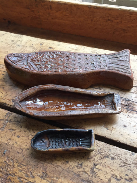 (SOLD) Glazed Terracotta Fish Shaped Molds- Set of Three