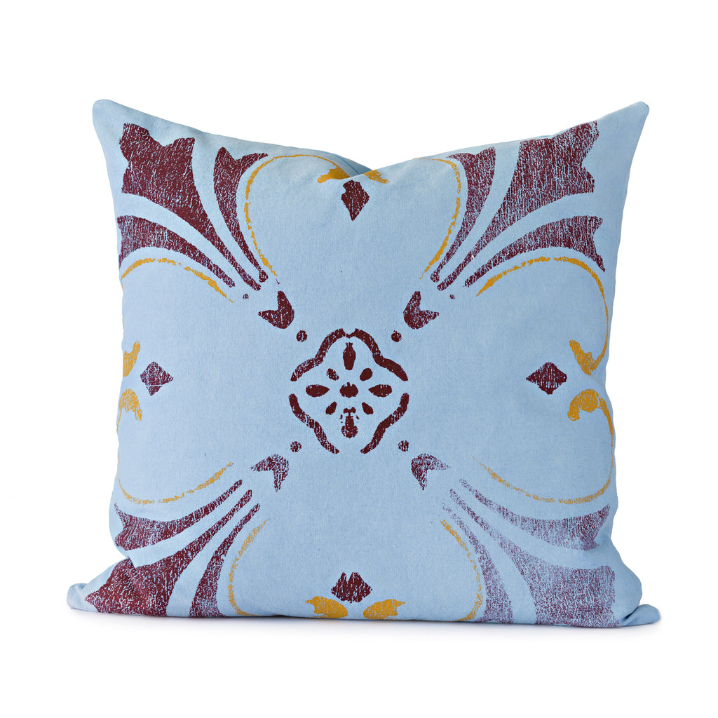 Blue Flower Throw Pillow - Mercato Antiques - 1