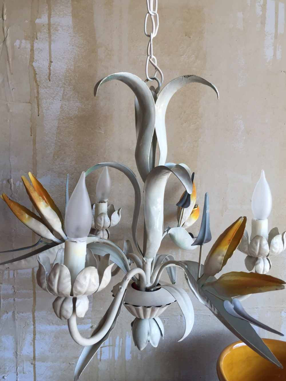 Soldvintage tole chandelier with bird of paradise vintage tole chandelier with bird of paradise mercato antiques 3 mozeypictures Image collections