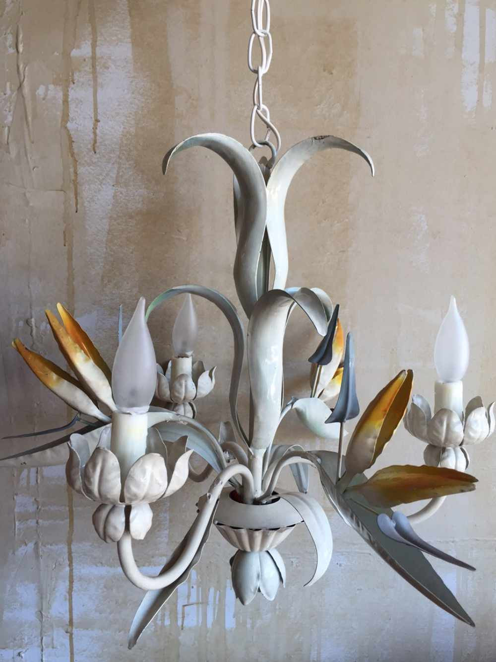 ... Vintage Tole Chandelier with Bird of Paradise - Mercato Antiques - 2 ... - SOLD)Vintage Tole Chandelier With Bird Of Paradise