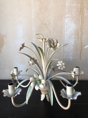 Vintage Italian Tole Chandelier With Daffodils