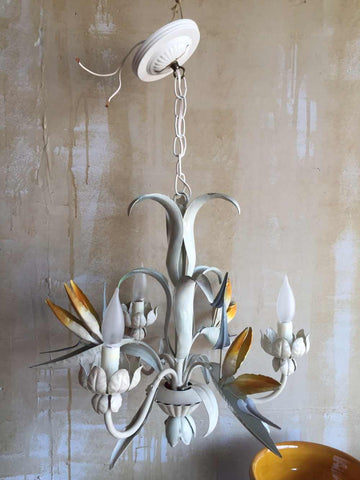Vintage Tole Chandelier with Bird of Paradise