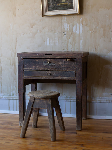 Vintage Silversmith Workbench and Stool