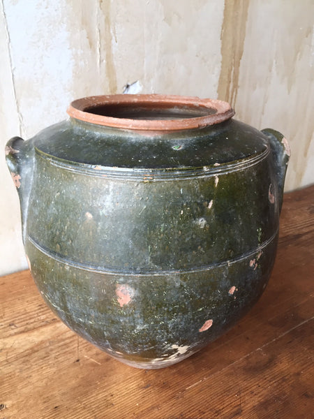 Antique Tuscan Pot Green Sold