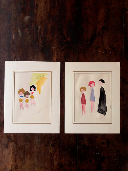 (SOLD) Whimsical Drawings of School Children
