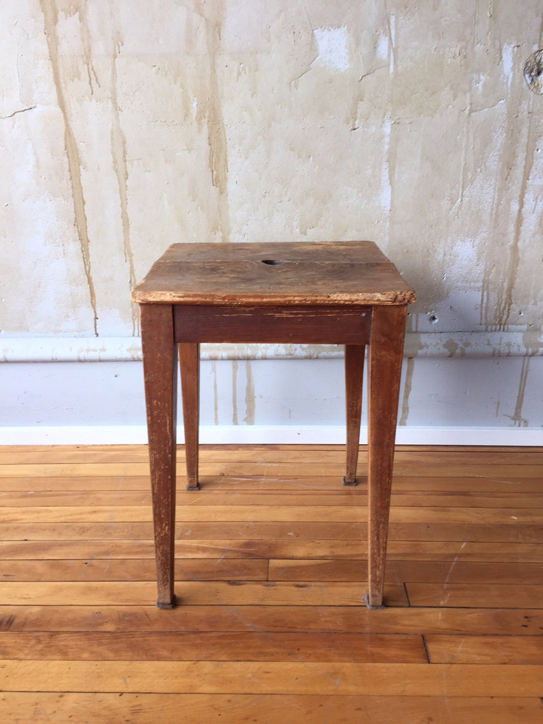 Vintage Italian Wooden Stool - Square Seat - Mercato Antiques - 1