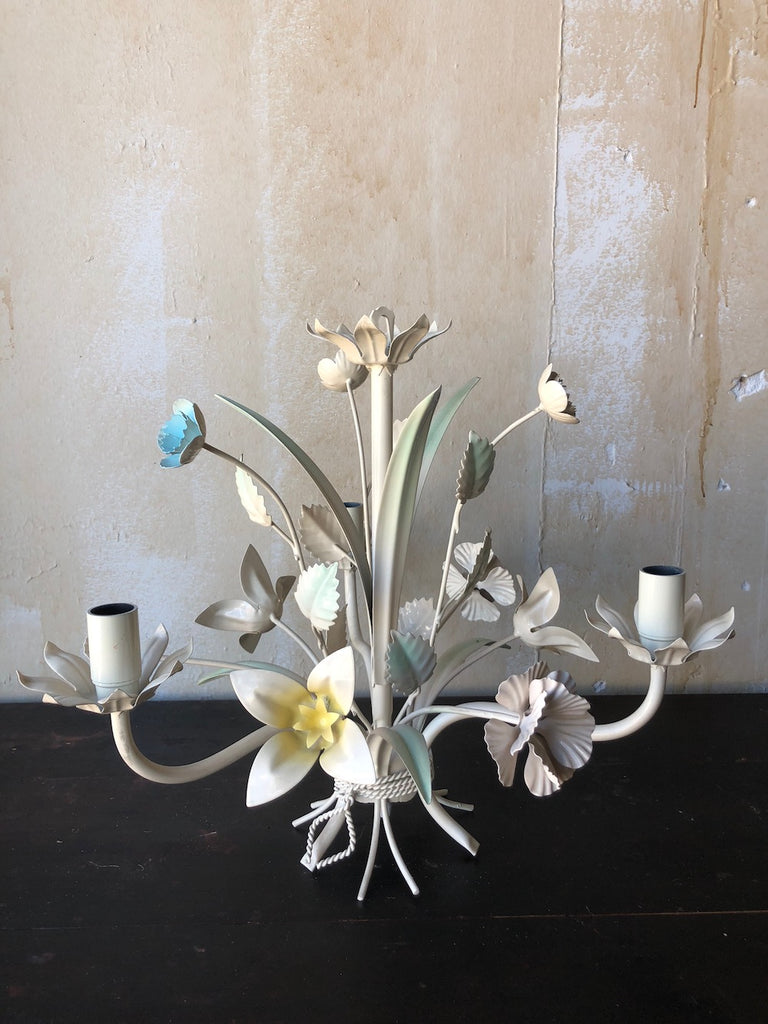 (SOLD) Vintage Italian Tole Chandelier- Blue and Yellow Floral with Mint Green Leaves