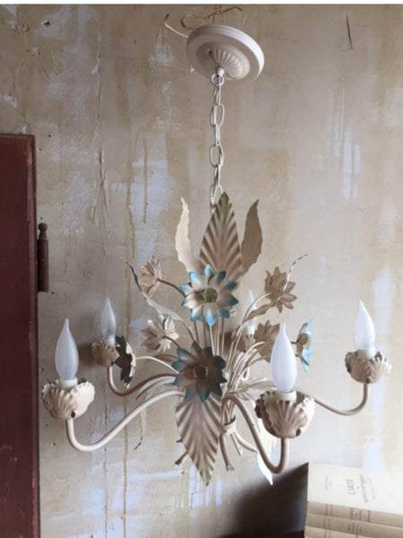 Italian Tole Chandelier- Blue Floral - Mercato Antiques - 1