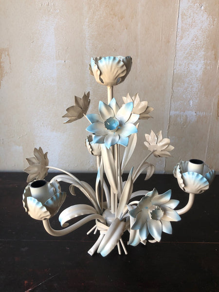 (SOLD) Vintage Tole Chandelier - Light Blue Flowers