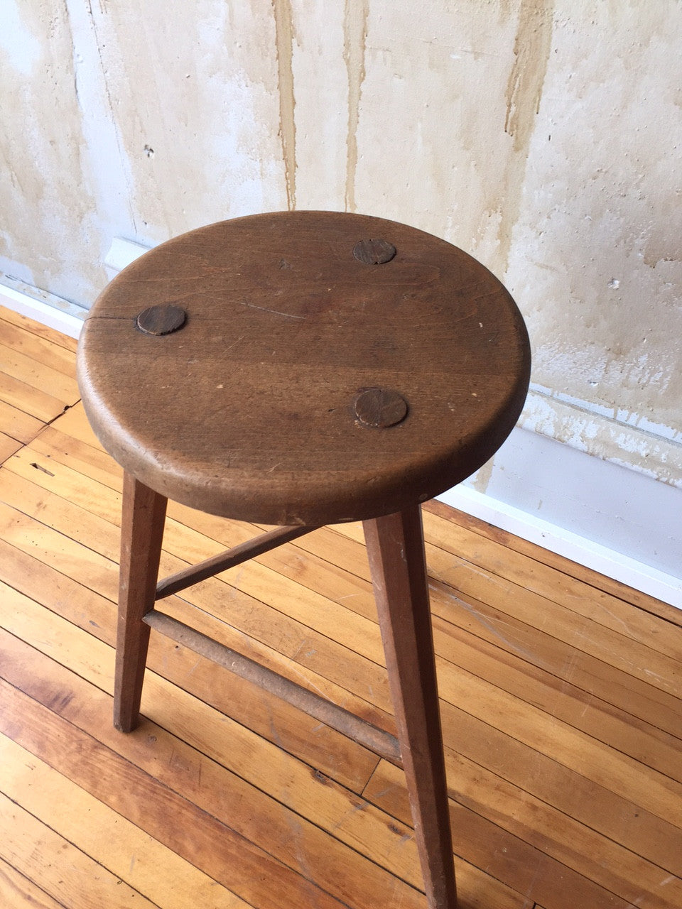 Antique Bed Stool: Three Leg Vintage Italian Stool (SOLD