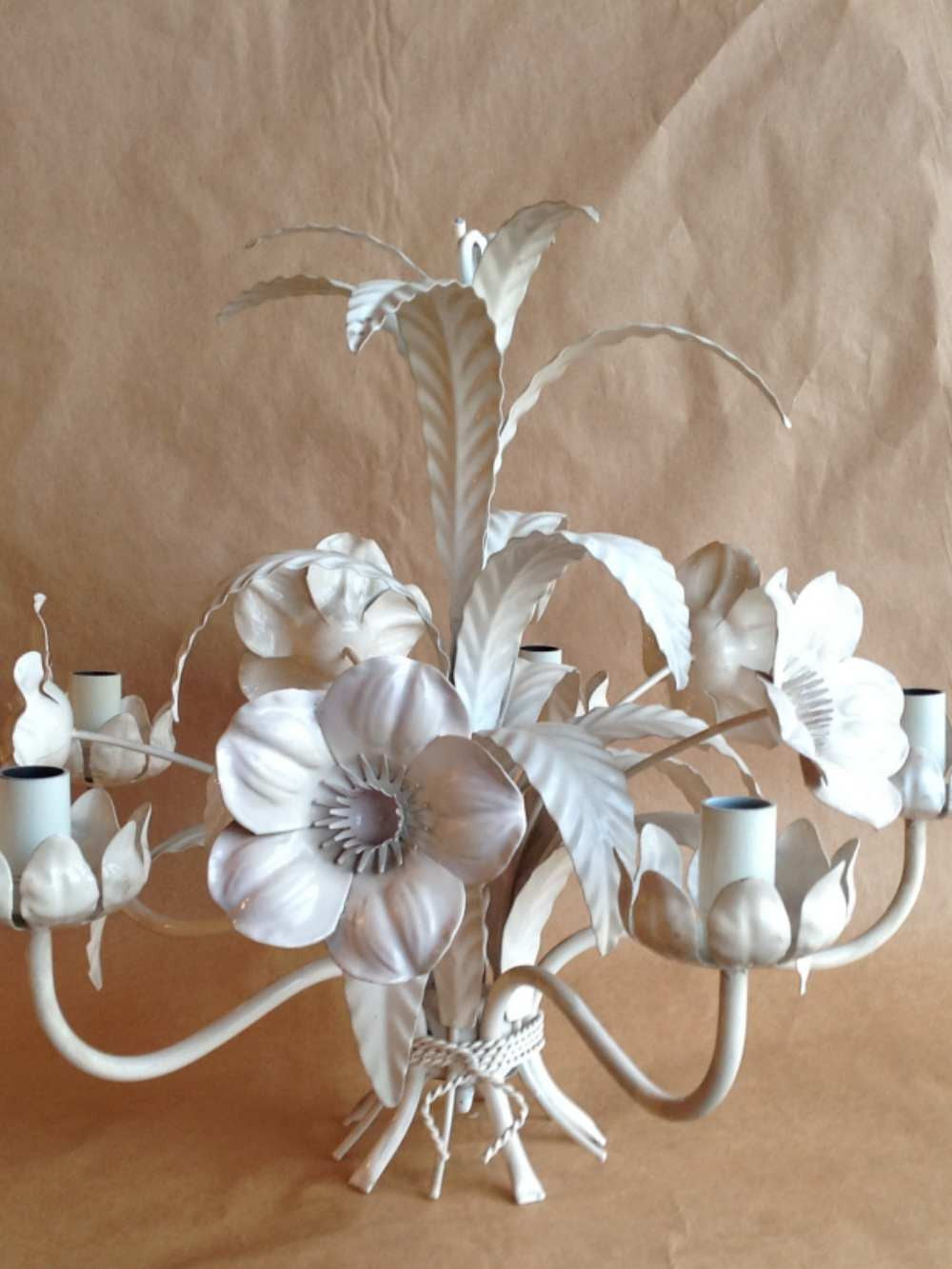 Vintage Tole Chandelier - Lavender And White - Mercato Antiques - 1 - Vintage Tole Chandelier - Lavender And White