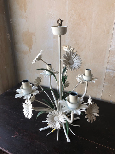 Vintage Tole Chandelier With Daisies Mercato Antiques