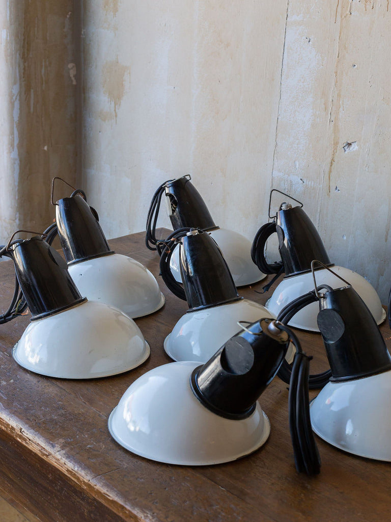 Black and White Vintage Industrial Pendent Lights- Set of 8