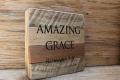 """Amazing Grace"" Romans 5:8 - Inscribed on Framed Reclaimed Wood Art"