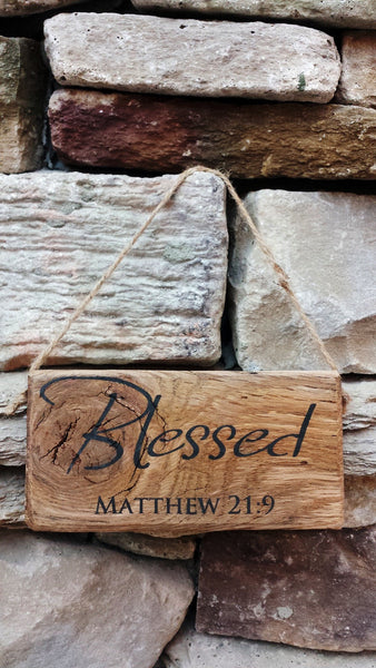 """Blessed"" - Matthew 21:9 Reclaimed Barnwood Door Hanger"