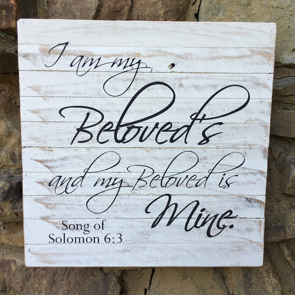 """I Am My Beloved's and My Beloved is Mine"" Song of Solomon 6:3 on Framed Reclaimed Wood Art"