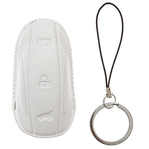 Key fob case for Tesla Model S - Car key sleeve (White)