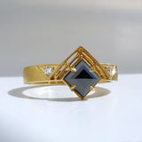 Bhumi Ring with Black Diamond (Three Stone)