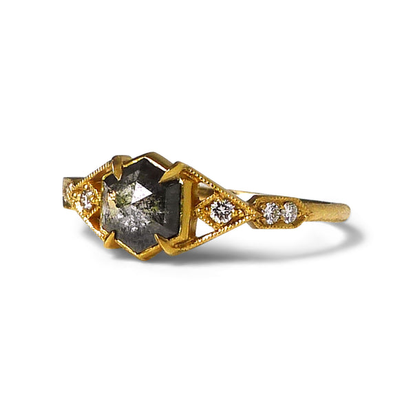 Casia Vestra Ring with Salt and Pepper Diamond