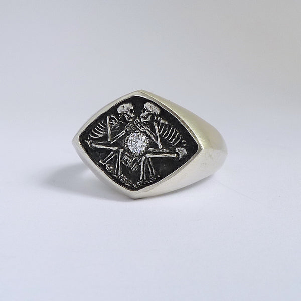 Dulcis Mortem Ring with Oxidized Silver (Wide Band)
