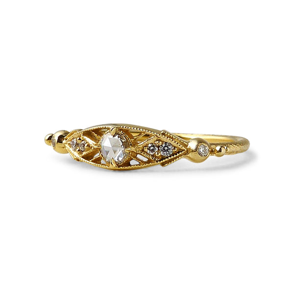 Minima Ring w/ White Diamond Rose Cut