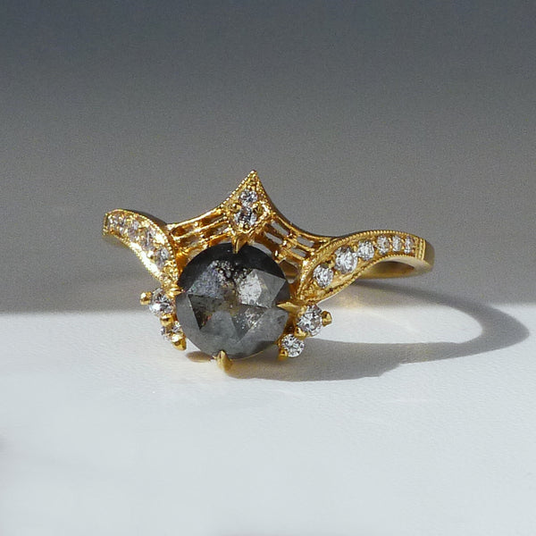 Protea Ring w/ Salt and Pepper Rose Cut Diamond