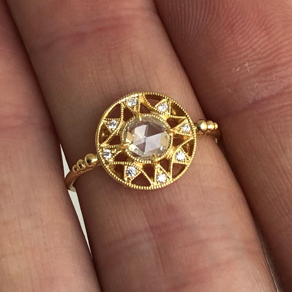 Zenith Ring w/ White Rose Cut Diamond