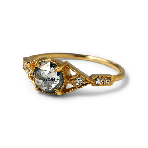 Aestas Ring w/ Salt and Pepper Diamond Rose Cut