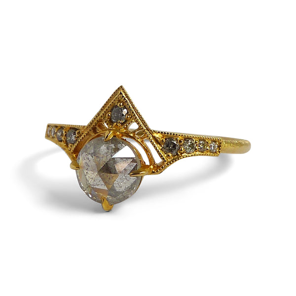 Cara Ring with Salt and Pepper Rose Cut Diamond and Ombré Pavé